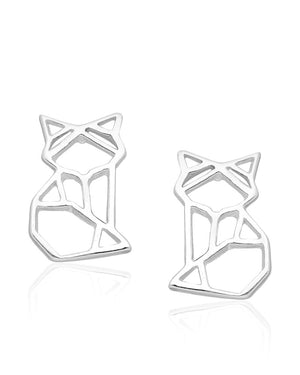 Origami Cat Stud Earrings in Sterling Silver