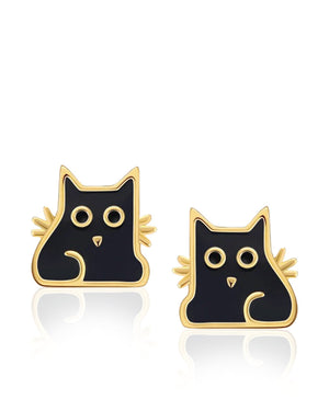 Round Eyed Cat Stud Earrings with Enamels, Gold Plating over Sterling Silver