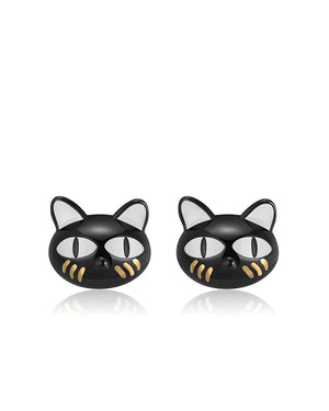 White Eyed Cat Stud Earrings in Sterling Silver with Enamels & Black Gun Plating