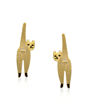 Naughty Cat Stud Earrings with Cubic Zirconia and 18k Gold plating over Sterling Silver