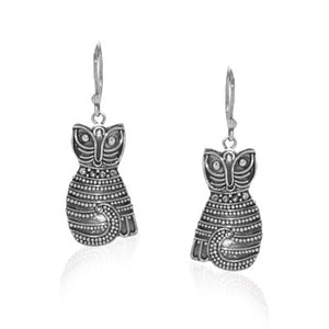 Marcasite Balinese Cat Sterling Silver Dangle Earrings