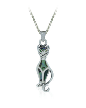 Abalone Shell Dressy Cat Sterling Silver Pendant