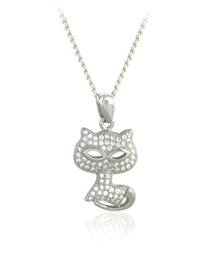 Watchful Kitty Pendant with Cubic Zirconias in Sterling Silver