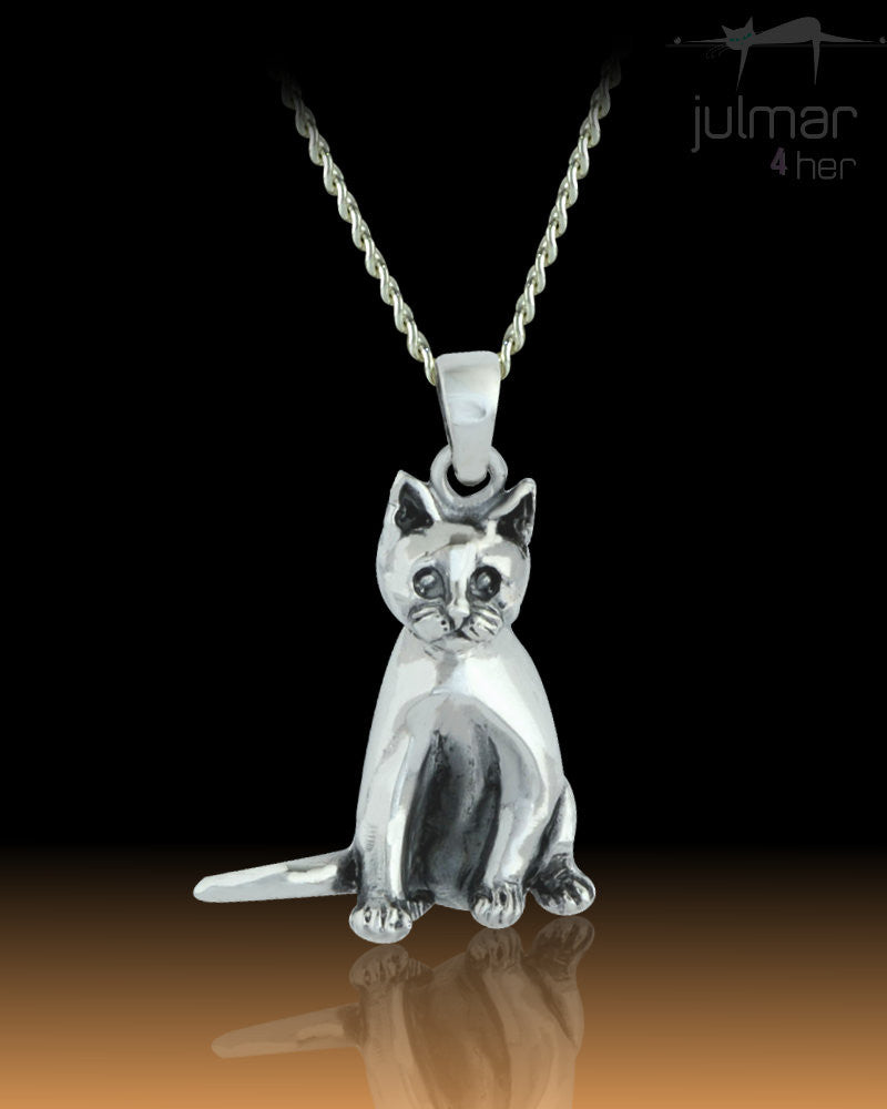 Tabby Cat Sterling Silver cat shaped Pendant