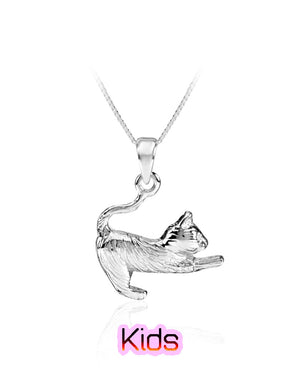 Jumping Playful Kitten Pendant in Sterling Silver