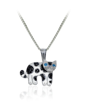 Swirly Dots Cat Pendant with Enamels over Sterling Silver