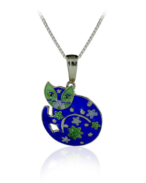 Blossom Flowers Cat Pendant with Enamels over Sterling Silver