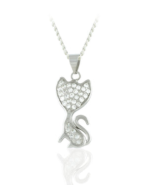 Sitting Playfully Cat Pendant with Crystals in Sterling Silver