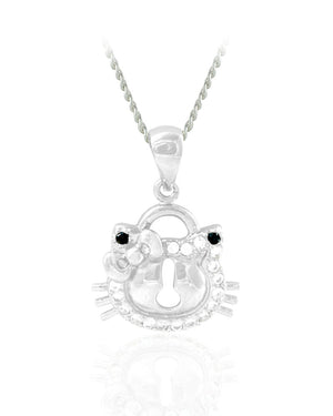 Open Cat Face Pendant with Crystals in Sterling Silver