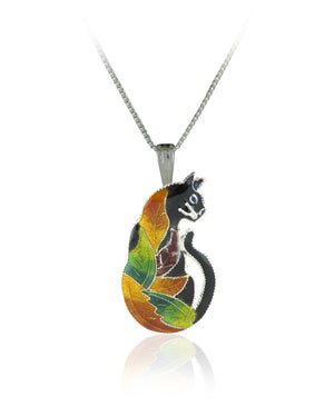 Colours of Life Cat Pendant with Enamels over Silver