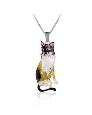 Siamese Cat Pendant with Enamels over Silver