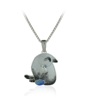 Adorable Cat with Ball Enamels over Silver Pendant