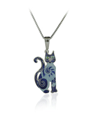 Swirls & Twirls Cat Pendant with Blue Enamels over Sterling Silver