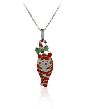 Candy Cane Cat Pendant with Enamels over Silver