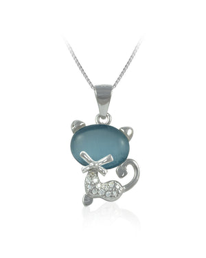 Blue Stone Cat Cubic Zirconia & Sterling Silver Pendant