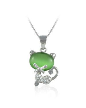 Green Stone Cat Cubic Zirconia & Sterling Silver Pendant