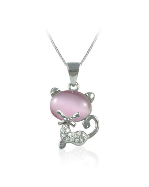 Pink Stone Cat Cubic Zirconia & Sterling Silver Pendant