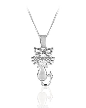 Vibrant Cat Pendant with Cubic Zirconia in Sterling Silver