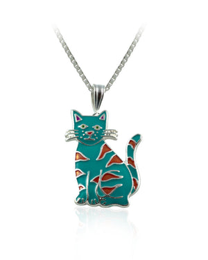 Calypso Cat Pendant with Enamels over Silver