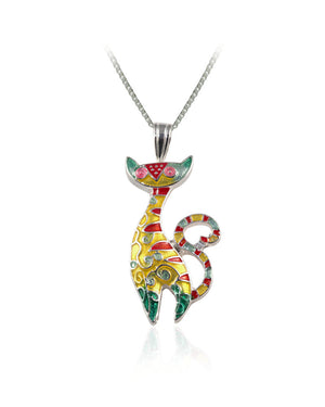 Radiant Cat Pendant with Enamels over Silver