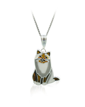 Silky Coat Cat Pendant with Enamels over Silver