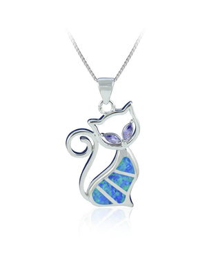 Lustrous Cat Pendant with Blue Created Opal in Sterling Silver