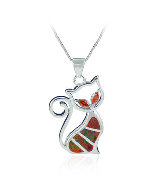 Red Created Opal Sterling Silver cat shaped Pendant