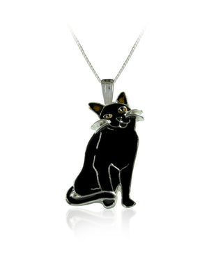 Shadow Black Cat Pendant with Enamels over Silver