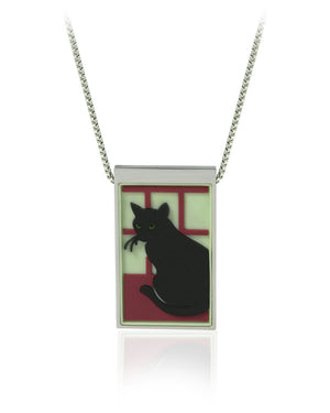 Black Cat in a Window Pendant with Vinyls in Stainless Steel