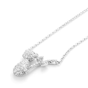 Bow Tail Cat Necklace with Cubic Zirconium in Sterling Silver
