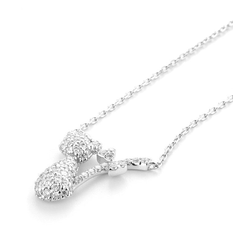 Bow Tail Cat Necklace with Cubic Zirconia in Sterling Silver