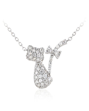Bow Tail Cat Necklace with Cubic Zirconias in Sterling Silver