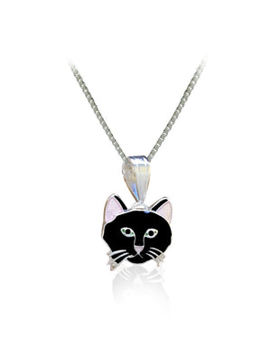 Pink Eared Black Cat Pendant with Enamels over Silver