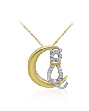 Moon Cat Yellow Gold over solid 925 Sterling Silver Pendant