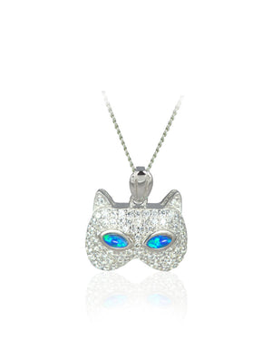 Mask Cat Pendant with Blue Created Opal, Cubic Zirconia in Sterling Silver