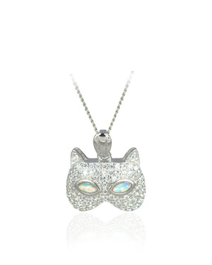 Striking Cat Eyes Pendant with White Created Opal & Cubic Zirconias in Sterling Silver