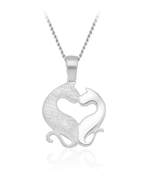 Kissing Cats Pendant in Sterling Silver
