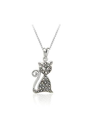 Mystical Cat Pendant with Swiss Marcasite in Sterling Silver