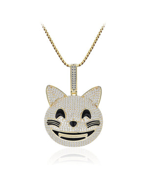 Cheerful Cat Face Yellow Gold over Sterling Silver Pendant with Cubic Zirconias