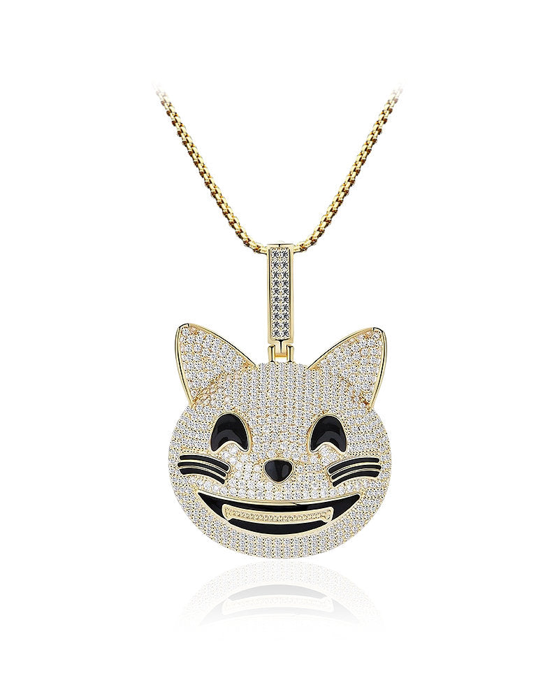 Cheerful Cat Face Gold over 925 Sterling Silver Pendant decorated with Cubic Zirconias
