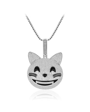 Cheerful Cat Face Sterling Silver Pendant with Cubic Zirconia