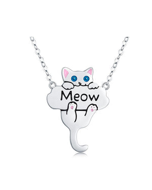 Meow Kitty Necklace with Enamels over Sterling Silver