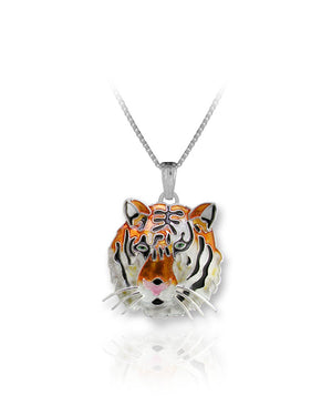 Tiger Pendant with Enamels over Sterling Silver