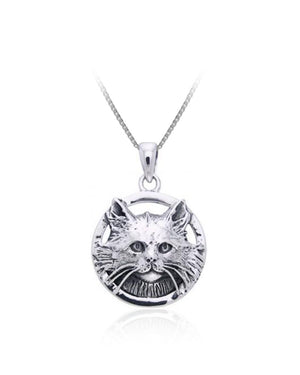 Domestic Long Hair Cat Pendant in Sterling Silver