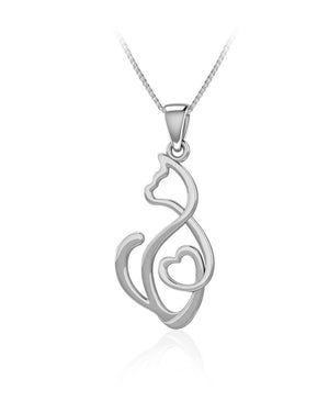 Looking Back Heartfelt Cat Pendant in Sterling Silver