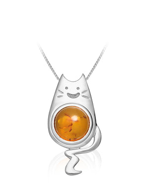 Baltic Amber Cat Sterling Silver Pendant