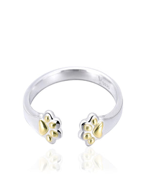Paws Cat adjustable Ring in Sterling Silver with Gold plating