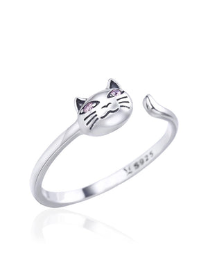 Pink Eyed Cat adjustable Ring with Cubic Zirconias in Sterling Silver