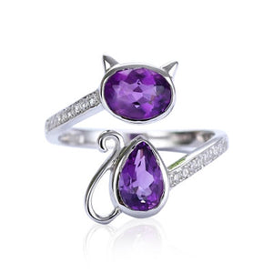 Amethyst & Crystal Cat adjustable Ring in Sterling Silver