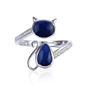 Lapis Lazuli & Cubic Zirconia Sterling Silver adjustable Cat Ring